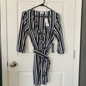 NY&Co black and white striped romper NWT